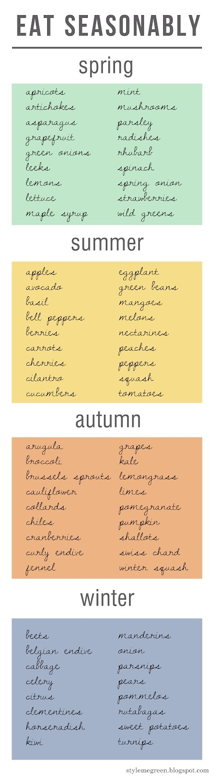 Produce For Each Season